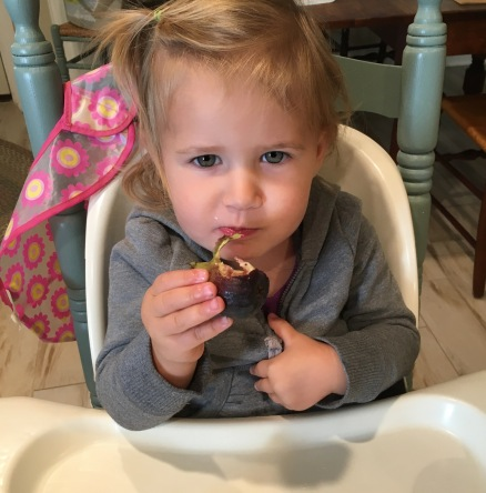 photo of a little girl eating a fig